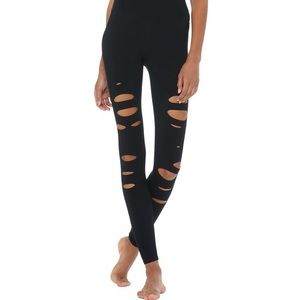 Alo high waist ripped warrior leggings black XS EC